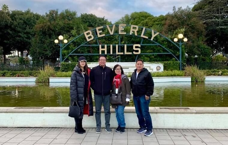 Family Posing at Beverly Hills Sign