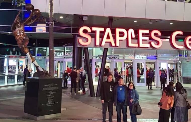 Posing in Front of Staples Center