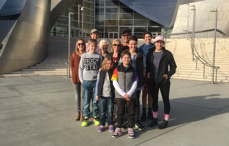 Large Family in Front of Disney Concert Hall